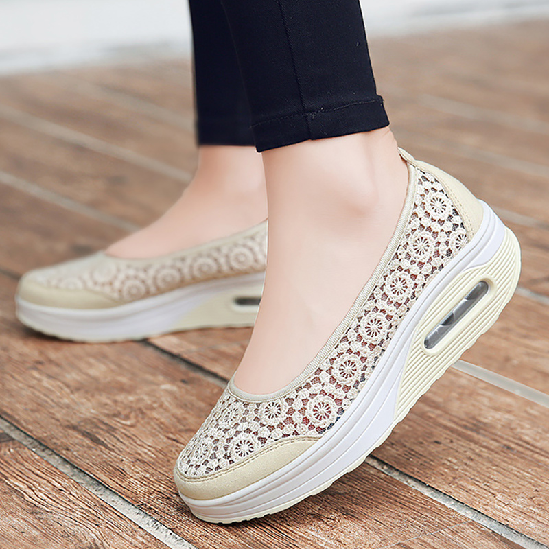 Women's sneakers 2020 New Lace Mesh Hollow breathable Female shoes Boat Summer Increase Platform sneakers Air cushion Damping