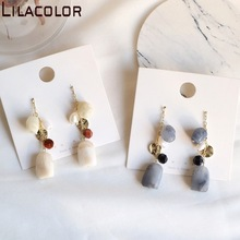 Korean long resin earrings  S925 silver needle ear nails minimalist port wind earrings women earrings