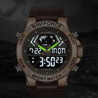 NAVIFORCE Neue Männer Uhr Top Luxus Marke Leder Wasserdichte Sport Männer Uhren Quarz Analog Digital Uhr Männlich Relogio Masculino-in Quarz-Uhren aus Uhren bei