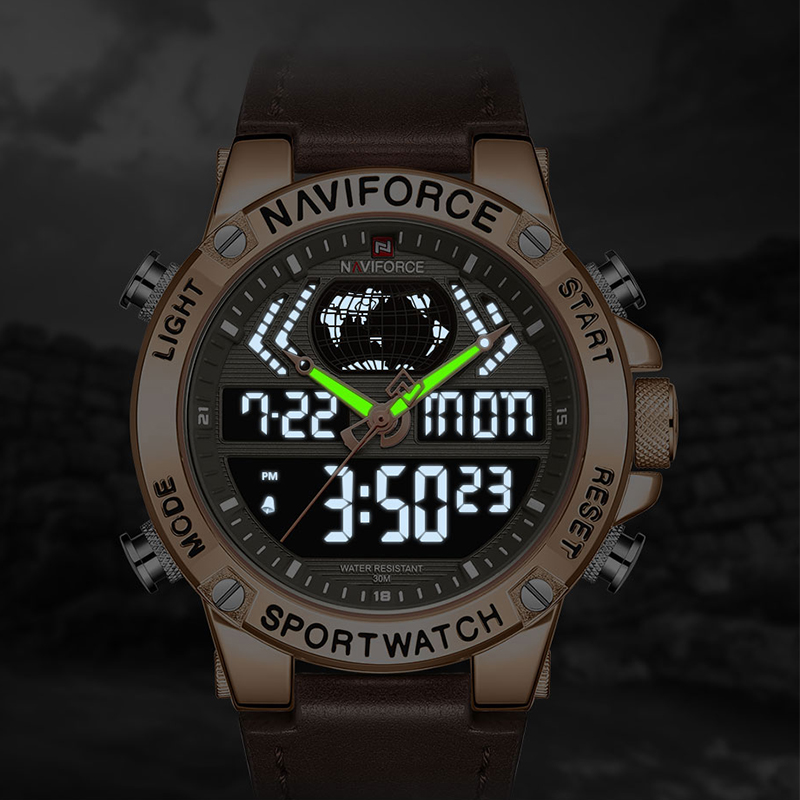 NAVIFORCE New Men Watch Top Luxury Brand Leather Waterproof Sport Men Watches Quartz Analog Digital Watch Male Relogio Masculino