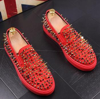 Handmade men's shoes black nubuck leather with Gold rivets Fashion style men's loafers men's red black bottom flats фото