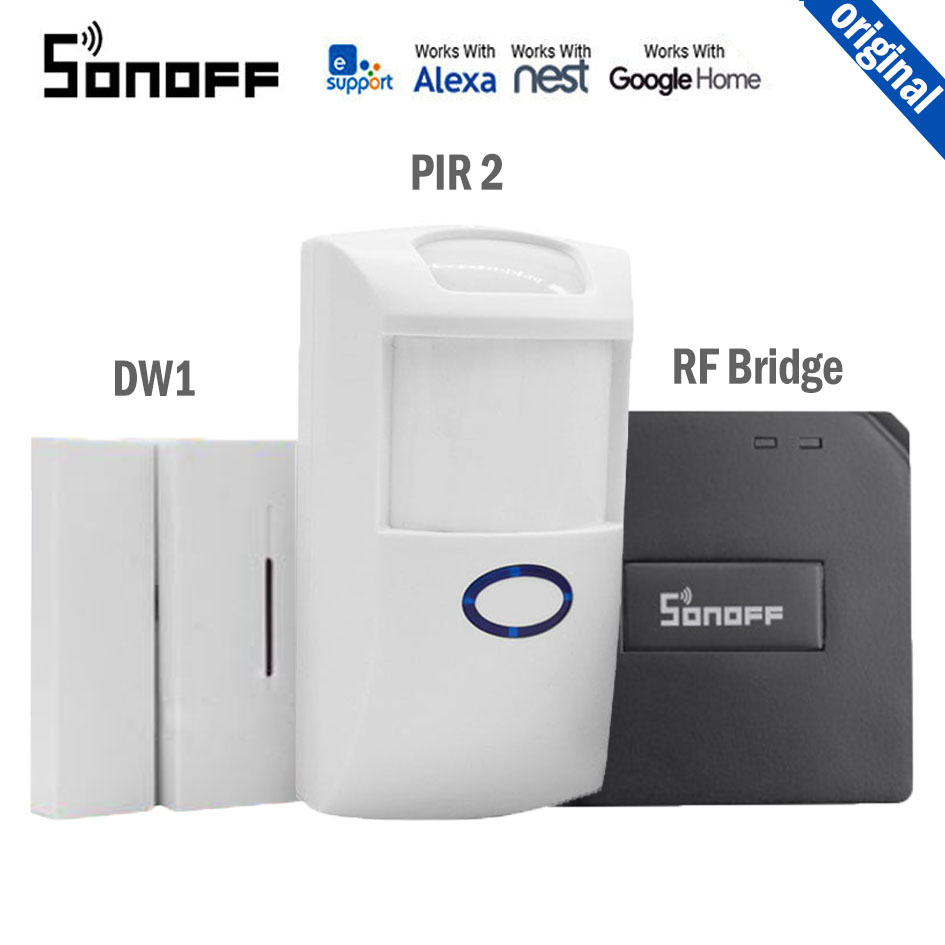Sonoff RF Bridge 433MHZ Wifi Signal Converter PIR 2 Sensor/ DW1 Door & Window Alarm Sensor Compatible With Alexa Google Home