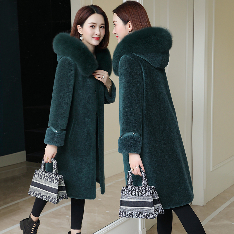 Real Fur Coat Fox Fur Collar Wool Jacket Autumn Winter Coat Women Clothes 2020 Korean Vintage Sheep Shearling Women Tops ZT3746