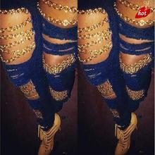 Ripped Waist Women Jeans Burst Women's Hole Chain Fashion Cool Jeans