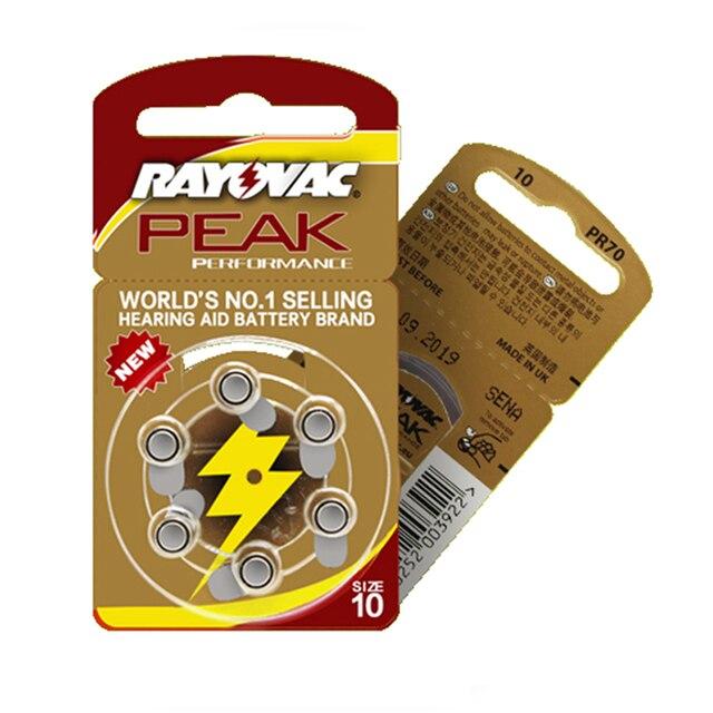 Batteries pour appareil auditif, 30 pièces, 5 cartes, RAYOVAC PEAK A10/PR70/10 Zinc, batterie à Air, 1.45V, diamètre 5.8mm, épaisseur 3.6mm