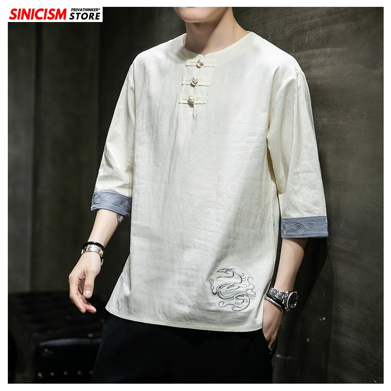 Sinicism Store 2020 Men Chinese Style Buckle O-neck T Shirt Men's Spring Vintage T Shirts Male Fashion Printed Clothes Oversize