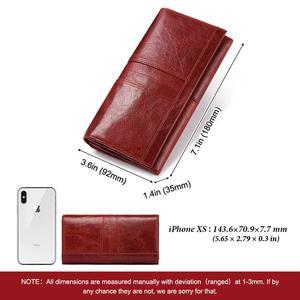 Image 4 - KAVIS 100% hakiki deri kadın cüzdan kadın bozuk para cüzdanı çile Portomonee debriyaj para çantası bayan kullanışlı uzun ücretsiz gravür