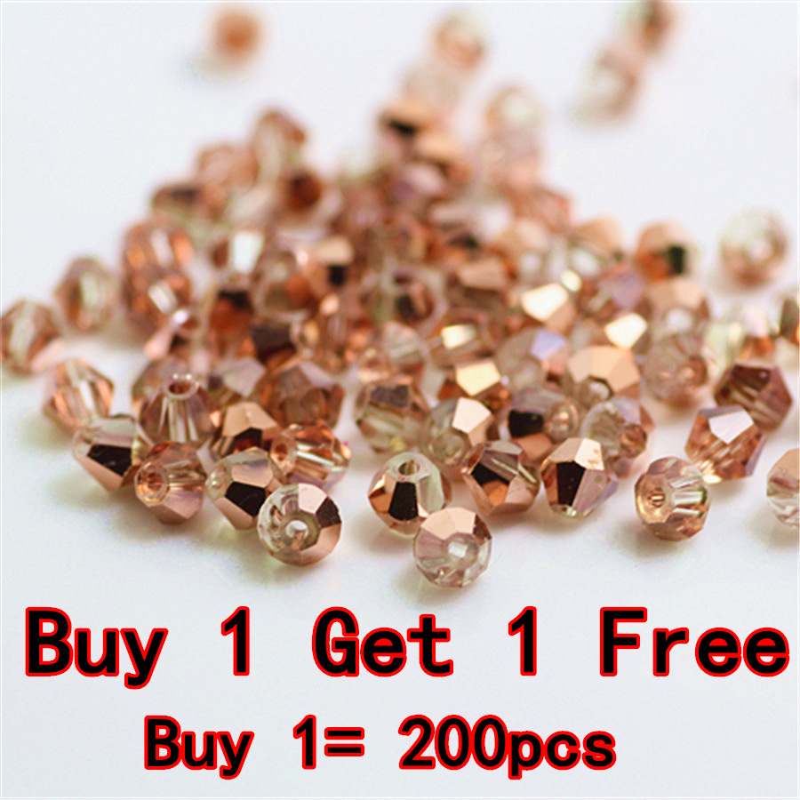 Isywaka Sale Red Copper Color 100pcs 4mm Bicone Austria Crystal Beads Charm Glass bead Loose Spacer Stone for DIY Jewelry Making