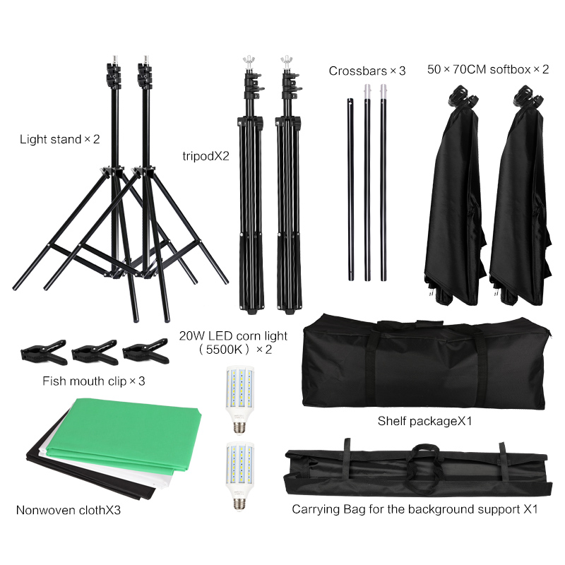 Image 2 - Kit professionnel déquipement déclairage de photographie avec le support mou de fond de parapluie de Softbox avec le Studio de Photo de lumière de bras de boom-in Accessoires pour studio photo from Electronique on AliExpress