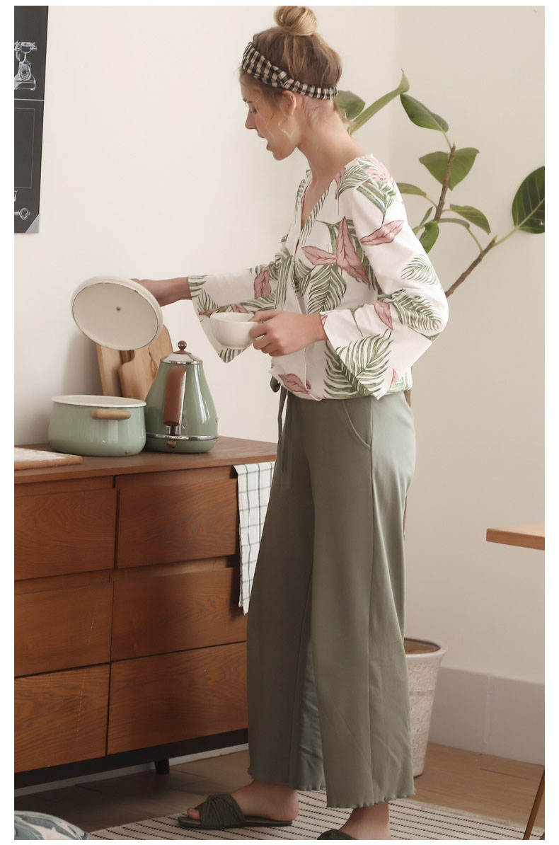 Image 5 - Pajamas Set for Women Spring and Autumn Long sleeved Tops with Trousers Pijamas Sets Leaves Printing Home Suit Pajamas for WomenPajama Sets   -