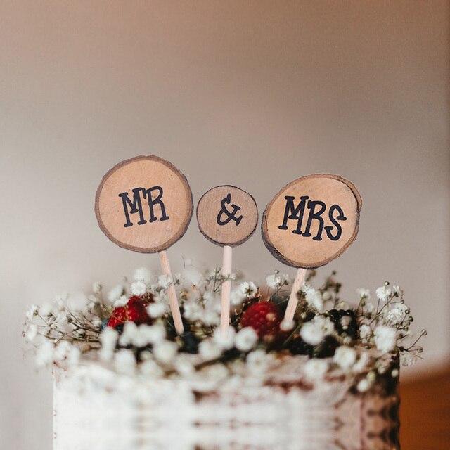 1 Uds. Adorno de madera con diseño de amor recién casados para tarta de boda DIY, regalos de compromiso, carta, artículos de Decoración de Pastel, favores