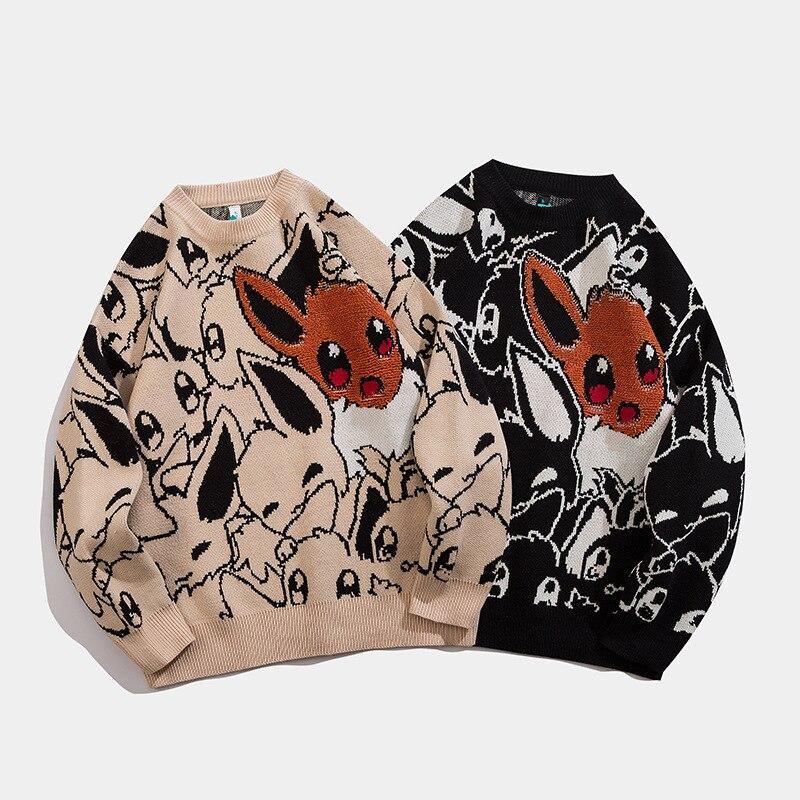 Свитер мужской в стиле Харадзюку, модная уличная одежда в стиле хип-хоп, пуловер в стиле аниме с круглым вырезом, повседневные свитеры оверс...