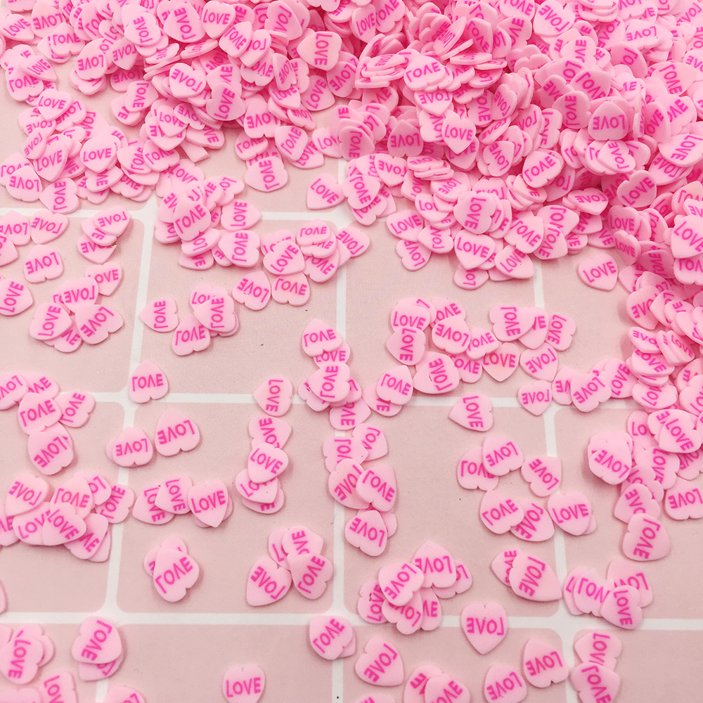 100g Polymer Hot Clay Love Heart Slice Sprinkles For Crafts DIY Phone Deco Fimo Nail Stickers Valentine's Day Decoration:5mm
