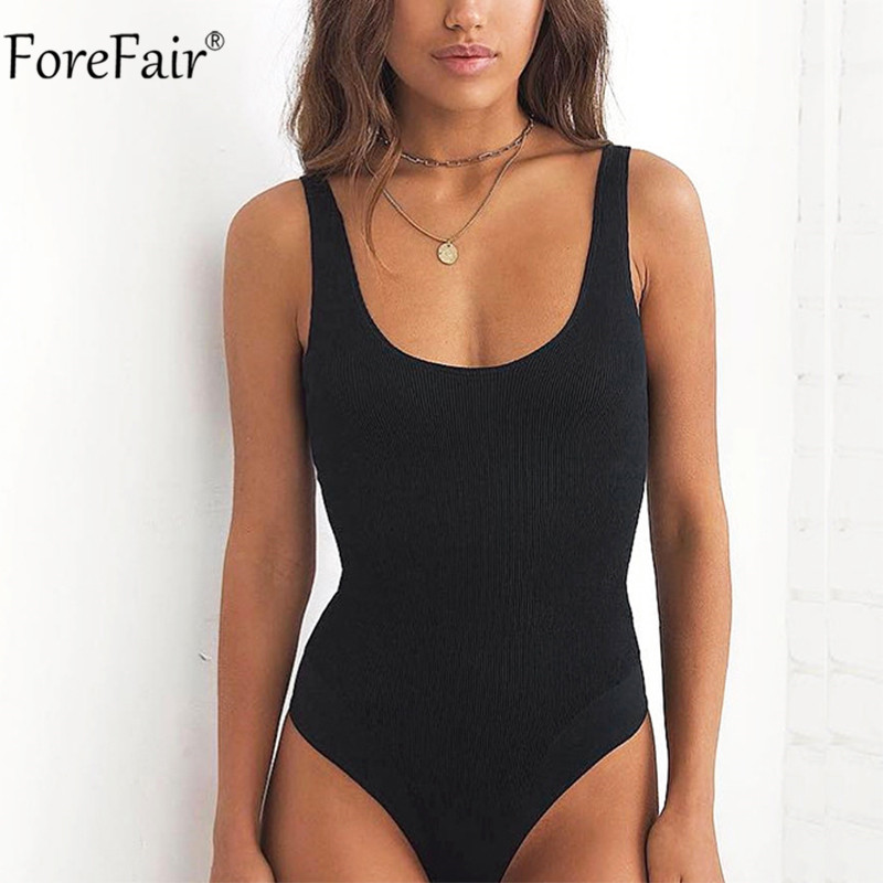 Forefair O Neck Sleeveless Summer Women Bodysuit Ribbed White Black Off Shoulder Spaghetti Strap Sexy Backless Bodysuits