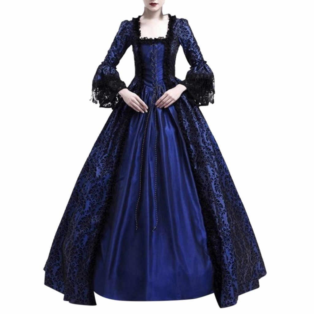 Moda kadın elbise Retro ortaçağ parti prenses rönesans Cosplay dantel kat uzunluk rahat kış parti kostüm bayan elbise