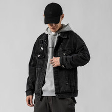 New Men Bomber Jacket Casual Denim Coats Hole Men's Hip Hop Streetwear Man Outwear Fashion High Quality Black Jean Jackets