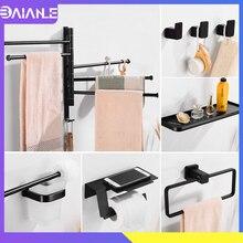 Towel Holder Black Aluminum Towel Rack Hanging Holder Towel Bar Brush Robe Hook Bathroom Shelf Organizer Toilet Paper Holder цена 2017