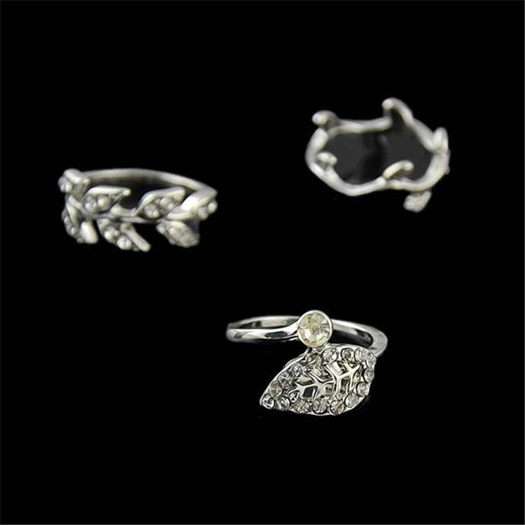 Women's Nice Finger Rings Reinstone Rings Fashion Jewelry Three Sets of Fingerprints with  Leaves  Silver Rings