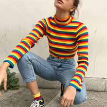 Autumn Winter Women Color Stripe Pullovers Sweater Knitted Casual Jumper Fashion Slim Turtleneck Warm Female Sweaters autumn winter sweaters dress 2019 women turtleneck knitted pullovers sweater high quality long female vintage thick warm dress