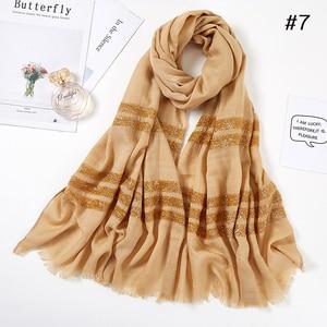 Image 3 - ผู้หญิงธรรมดาผ้าพันคอ Hijab ของแข็ง Fringed ผ้าคลุมไหล่ Glitter มุสลิมยาว HEAD Wrap turbans ผ้าพันคอ/ผ้าพันคอ