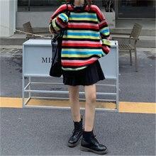Женский свободный свитер в радужную полоску повседневный трикотажный