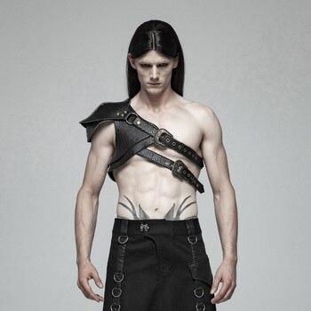 PUNK RAVE hommes Steampunk armure épais motif Pu cuir rétro scène Performance hommes accessoires