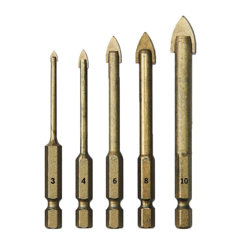 مجموعه بیت مته سرامیکی شیشه ای 5 عدد 3 4 6 8 10 میلی متر ابزار قدرت ابزار دسترسی ابزارهای دیواری 1/4 اینچی کاربید Hex Shank Tungsten Tungsten