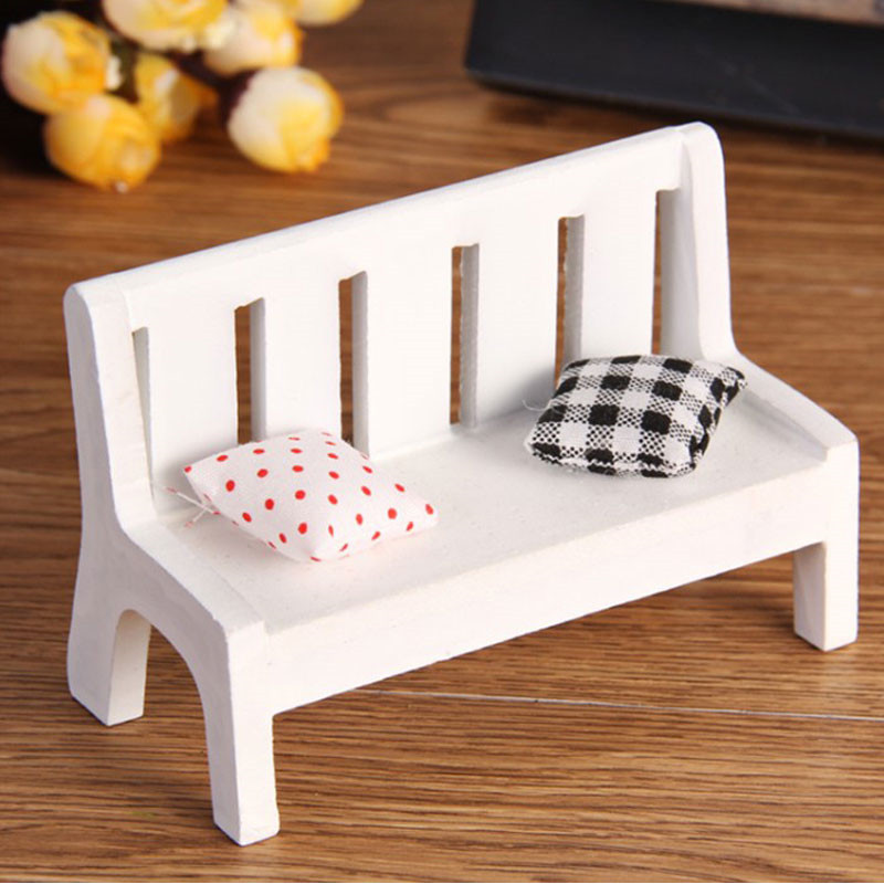 1set Mini Wooden Bench Dolls House Miniature Garden Dollhouse Furniture Accessory