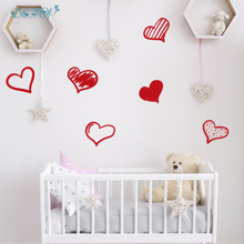 Love Wall Sticker Red Hearts Nursery Kids Baby Room Bedroom Home Vinyl Decal Removable Sleeping Space Mural Decoration Pattern недорого