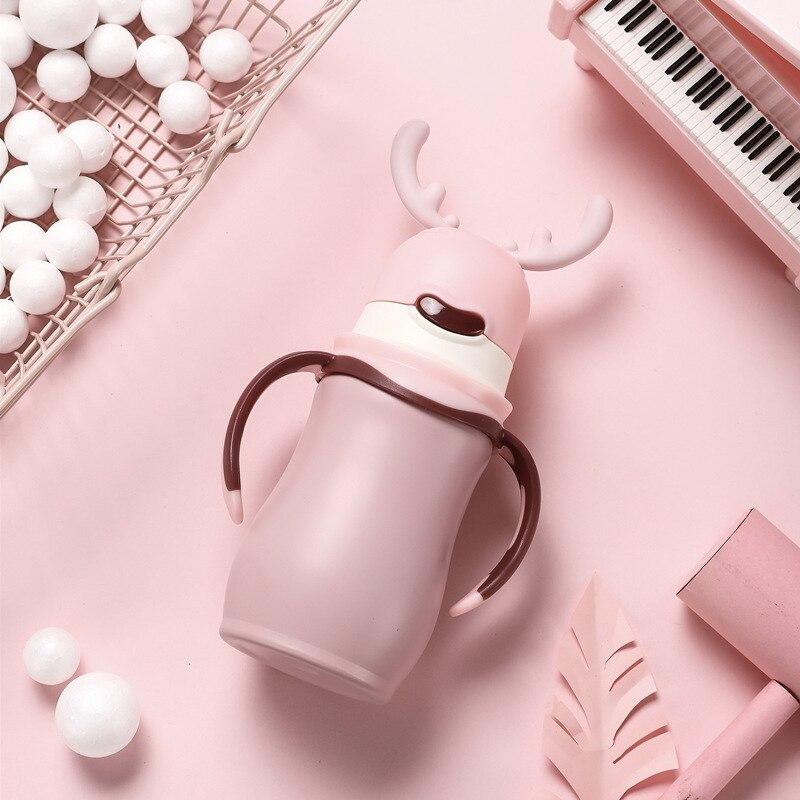 Termo de acero inoxidable para frasco de vacío de agua para té y café alce de Navidad con mango de acero inoxidable - 5