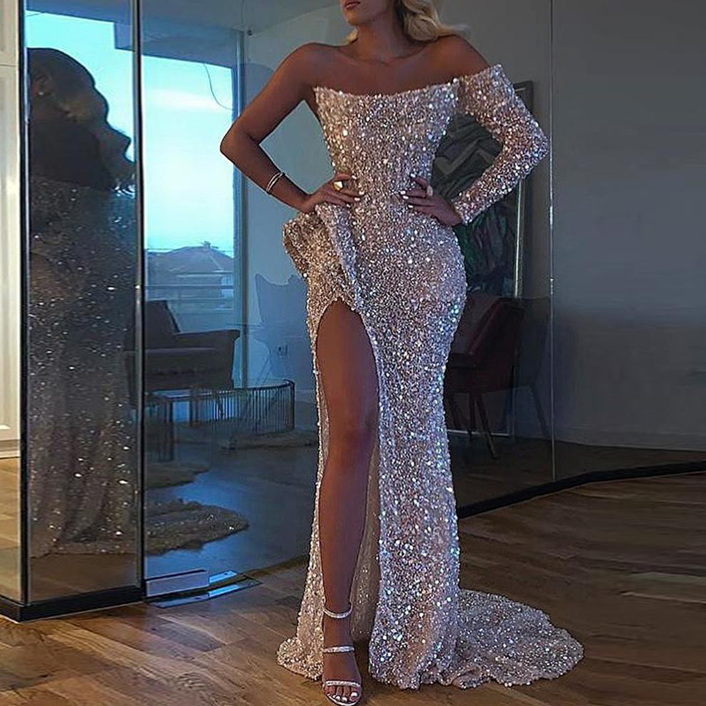 DYMADE One Shoulder Elegant Long Evening Dress Sexy Mermaid Split Sequins Wedding Gowns Prom Formal Dresses Floor-Length D30