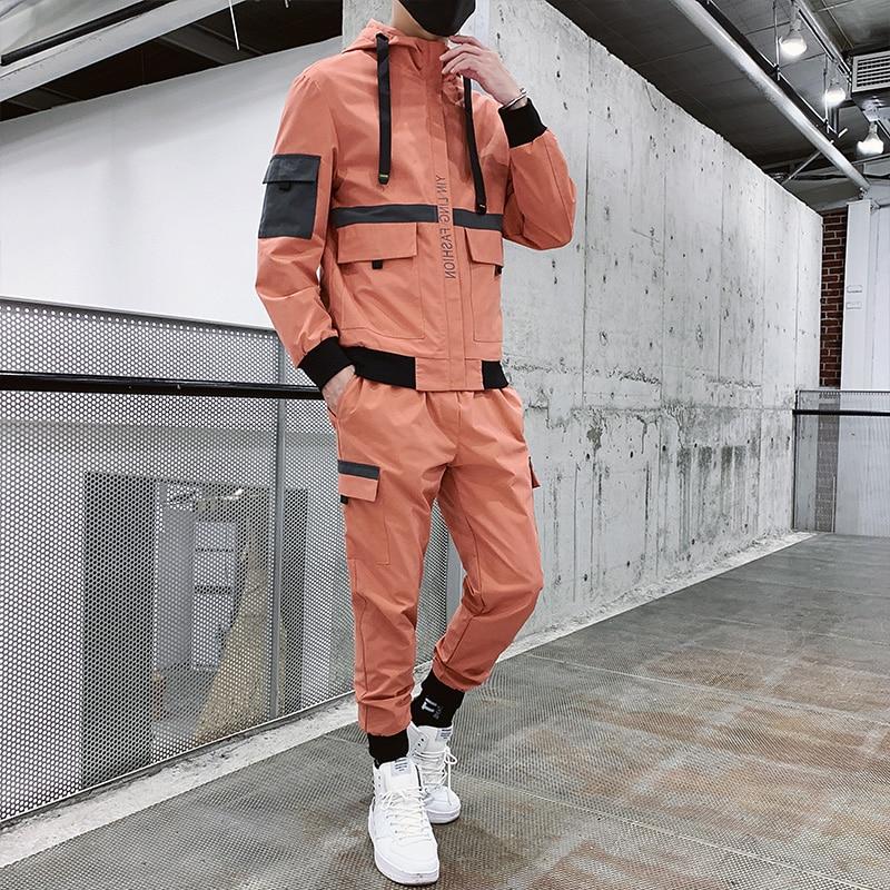 Hip Hop Military Men Tracksuit Pocket Zipper Loose Orange Men Jacket Long Sleeve Casual Fashion Mens Sports Suits Street B60