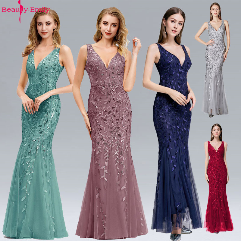 Beauty Emily V Neck Strapless Evening Dresses Silver Appliques Tulle Mermaid Dress Pleated Zipper Open Back Robe De Soiree