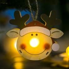 Деревянная Рождественская гирлянда венок Декор светодиодный
