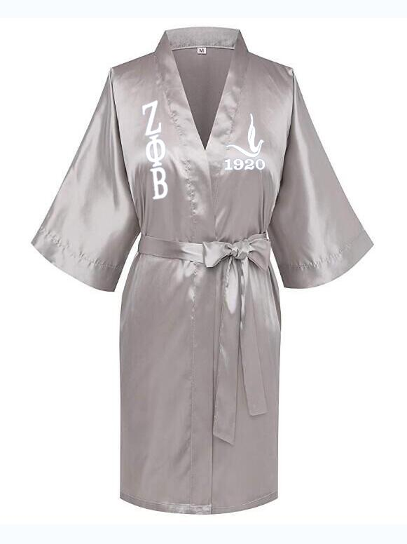 Image 3 - Custom Greek Letter Sorority White Blue Zeta PHI Beta Robe Sleepwear Silk Half Sleeve Nightwear For Women LadyRobes   -
