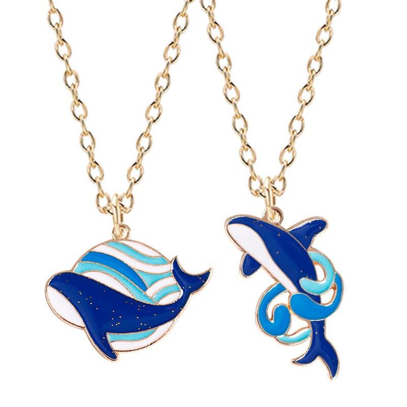 Collar con colgante de Metal con forma de ballena azul para mujer, Gargantilla creativa, regalo de cumpleaños, joyería para novia
