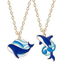 Moda creativa balena blu ciondolo in metallo collana femminile carino coppia selvaggia collana regalo di compleanno gioielli per fidanzata