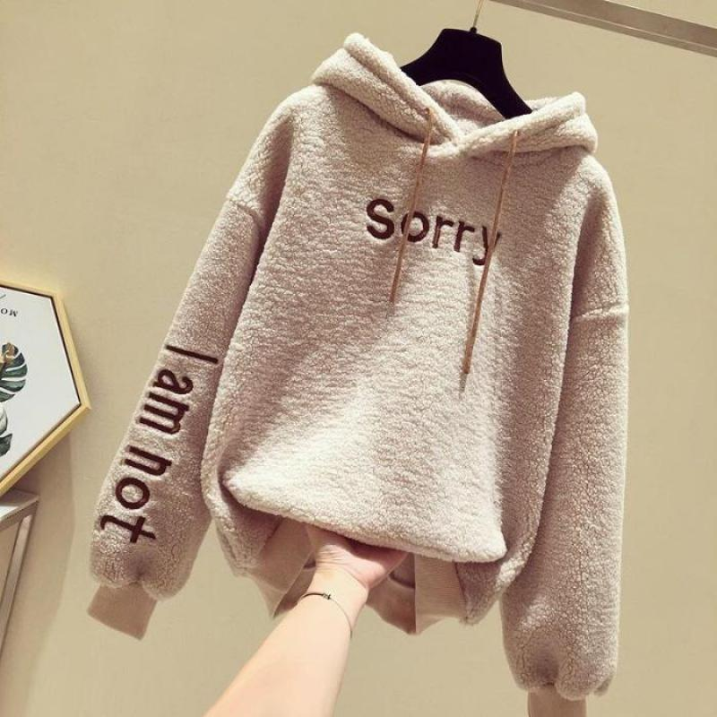 Lambs Women's Hoodie Autumn Winter Coat 2019 Korean Style Loose Thickened Fluffy Tops Student Sweatshirt Warm Pullover Female