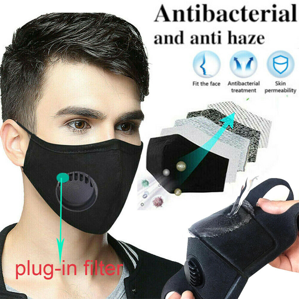 1Pcs Fashion Unisex Cotton Breath Valve PM2.5 Mouth Mask Anti-Dust Anti Pollution Mask Cloth Activated Carbon Filter Respirator