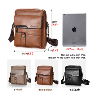Image 2 - Brand Men Shoulder Bag for 10.4 inches Ipad PU Leather Business Men Messenger Bags Large Man Crossbody Bag Waterproof Travel Bag