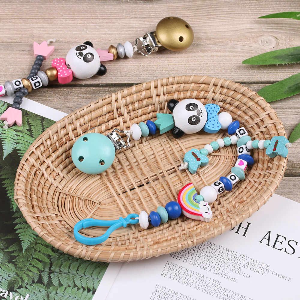 Chupete de silicona para bebé Panda recién nacido Clip Multicolor Arco Iris cadena chupete para niños dentición chupete Juguetes