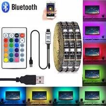 DC5v USB powered 5050 LED strip z muzyka Bluetooth kontrola aplikacji 1/2/3/4/5M lampa RGB taśma do dekoracja otoczenia i TV oświetlenie