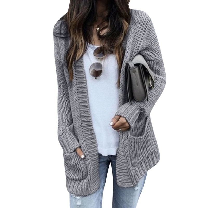 CALOFE Knitting Coat Cardigan Autumn Long-Sleeve Winter Women Mujer Invierno Pockets