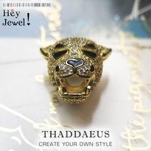 Cuentas de tigre dorado para mujer y hombre, accesorios de lujo, abalorio de plata de ley 2020 para fabricación de joyas, Europa 925