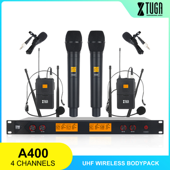pro uhf dual channels wireless microphone mic system with 2 bodypack transmitter 2 headset 1 receiver audio cable power adapter XTUGA A-400 Metal Material 4-Channel UHF Wireless Microphone System with 2 BodyPack and 2 Handheld for Stage Church Family Party