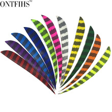 50pcs/lots 5 Water Drop Shape Hunting Arrow Feathers Striped Turkey Feather Archery Accessories Fletching FT50