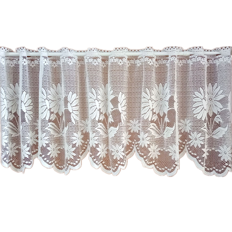 European and American Style Yarn Cotton Splice Beige Crochet Lace Edge Coffee Curtain Multi function Decorative Short Curtain|Curtains| |  - title=