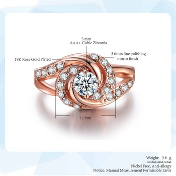 Fashion Rose Gold Diamond Rings For Women  Engagement Party Ring AAA White Zircon Cubic Rings Wedding Bands Jewelry Gift 3
