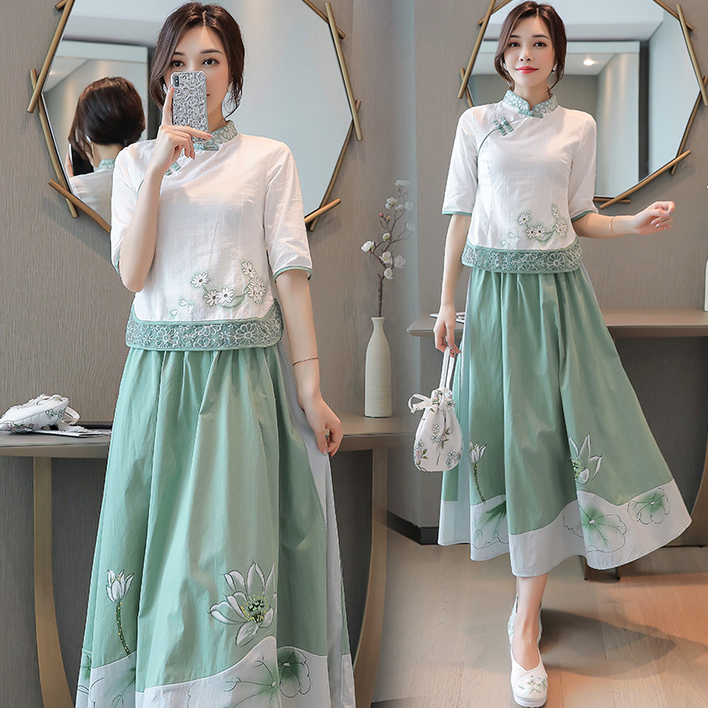 Chinese Clothing Tops 2019 Summer New Style Stand Collar Pleated Suit Dress
