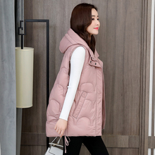Women Vest Parka Waist Cotton-Padded Winter Loose Autumn Plus-Size Solid